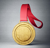 gold medal isolated on a grey background. 3d illustration