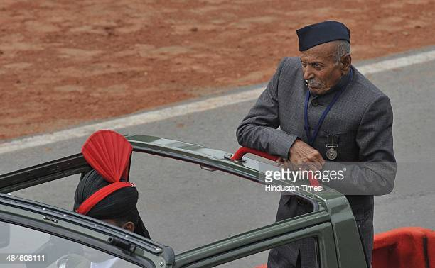 A medal winner and Exserviceman passing through the saluting base during the full dress rehearsal for Republic Day Parade at Rajpath on January 23...