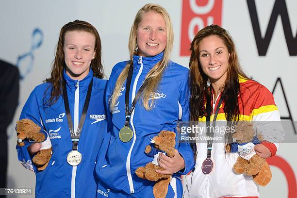 Medal Winners for the Women's 100m Freestyle S9 Amy Marren of Great Britain Stephanie Millward of Great Britain and Sarai Gascon of Spain pose with...