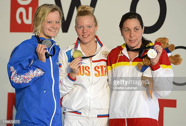 Medal Winners for the Women's 50m Freestyle S12 final Hannah Russel of Great Britain Darya Stukalova of Russia and Deborah Font of Spain pose with...