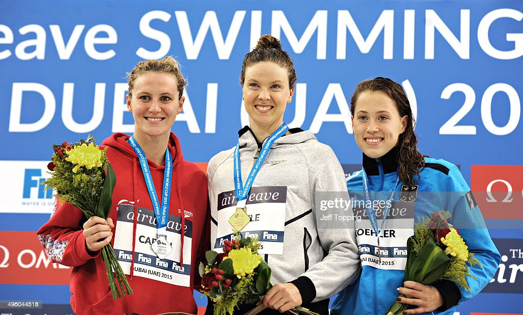Medal winners in the women's 800 meter Freestyle from left Jazmin Carlin of Great Britain silver Lauren Boyle of New Zealand gold and Sarah Koehler...