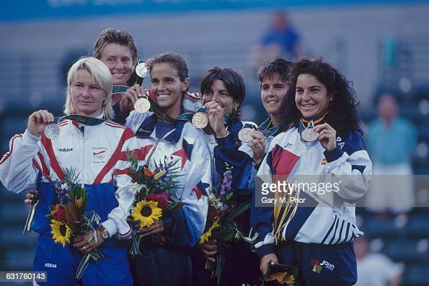 Medalists in the tennis Women's Doubles event at Stone Mountain Tennis Center during the Olympic Games in Atlanta Georgia 3rd August 1996 Left to...