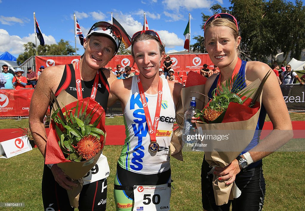 Medalists Jo Lawn of New Zealand, Gina Crawford of New Zealand and Candice Hammond of New Zealand pose following the Challenge Wanaka on January 19, 2013 in Wanaka, New Zealand.