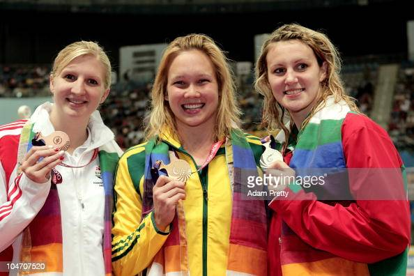 Medalists Rebecca Adlington of England Kylie Palmer of Australia and Jazmin Carlin of Wales pose after competing in the Women's 200m Freestyle Final...