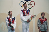 Medallists in the men's 50m freestyle event on the podium at the Summer Olympic in Seoul South Korea 24th September 1988 Left to right Tom Jager of...