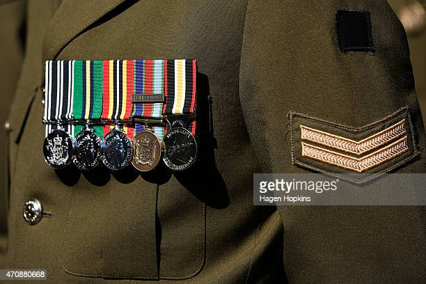 Medals are seen on the chest of a soldier during the Anzac Day eve street parade on April 24 2015 in Wellington New Zealand The parade was organised...