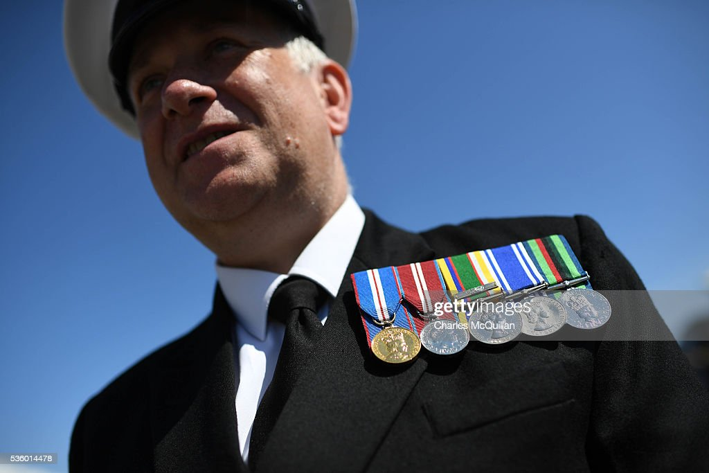 Medals are worn by a guest at HMS Caroline on May 31, 2016 in Belfast, Northern Ireland. HMS Caroline is the last surviving ship from the 1916 Battle of Jutland and today hosted a special all island commemoration service ahead of it's reopening to the public tomorrow after a major restoration project. The Battle of Jutland is remembered as the largest and deadliest naval battle of World War One, where more than 6,000 British and more than 2,500 German personnel lost their lives in the 36-hour Battle off the coast of Denmark.