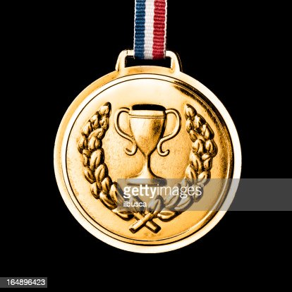 Olympic medals isolated on black: Gold