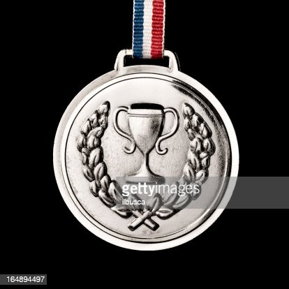 Olympic medals isolated on black: Silver