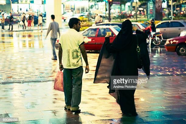 Meddleeastern tourists in Jalan Bukit Bintang shopping road in Kuala Lumpur Malaysia
