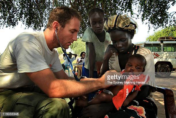 Medecins Sans Frontieres South Sudan Australian nurse Sam Bartlett attends to patients at a mobile clinic in Ajakwac Abyei Special Area in South Sudan