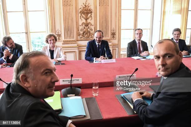 Medef head Pierre Gattaz Democratic Confederation of Labour union's general secretary Laurent Berger French Labour Minister Muriel Pénicaud French...