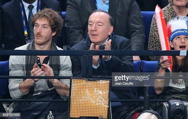 Medef President Pierre Gattaz attends the 25th IHF Men's World Championship 2017 Final between France and Norway at Accorhotels Arena on January 29...