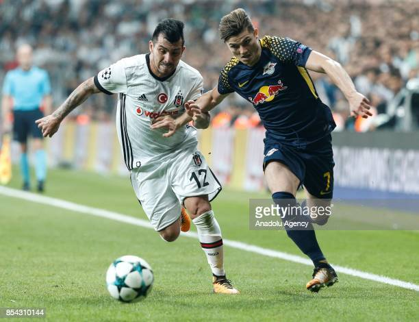 Medel of Besiktas in action against Marcel Sabitzer of Leipzig during a UEFA Champions League Group G match between Besiktas and Leipzig at Vodafone...