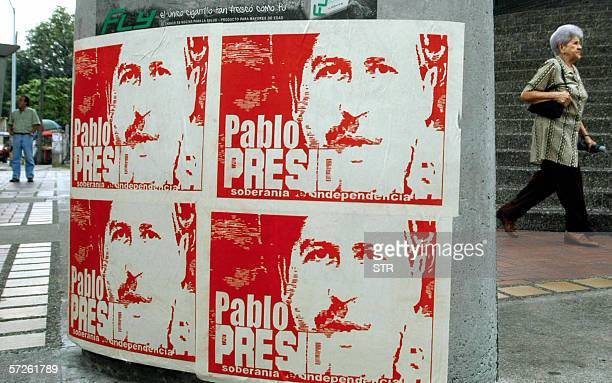 Posters with the portrait of late leader of Colombian drug cartel Pablo Escobar killed by police in Medellin in 1993 that read 'Pablo for...