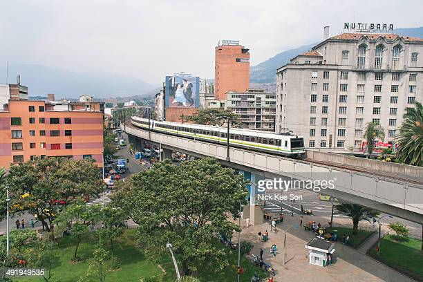 Medellin metro built high above the city, Colombia