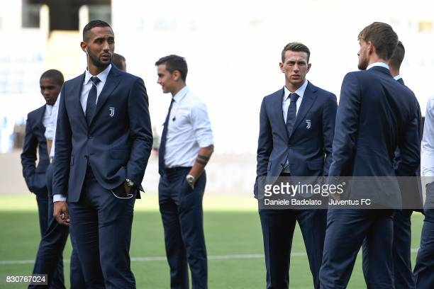 Medhi Benatia and Federico Bernardeschi during the Juventus Walk Around ahead of the Italian Supercup at Olimpico Stadium on August 12 2017 in Rome...