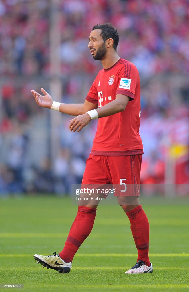 Medhi Benatia of FC Bayern Muenchen reacts during the Bundesliga match between FC Bayern Muenchen and Borussia Moenchengladbach at Allianz Arena on April 30, 2016 in Munich, Germany.