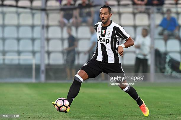 Medhi Benatia of FC Juventus in action during the PreSeason Friendly match between FC Juventus and Espanyol at Alberto Braglia Stadium on August 13...