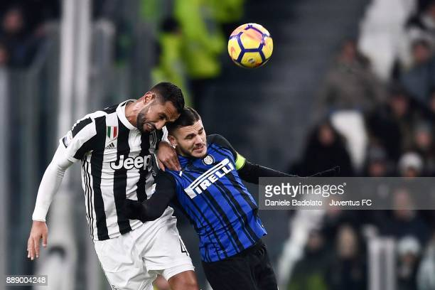 Medhi Benatia of Juventus clashes with Mauro Icardi of FC Internazionale during the Serie A match between Juventus and FC Internazionale on December...