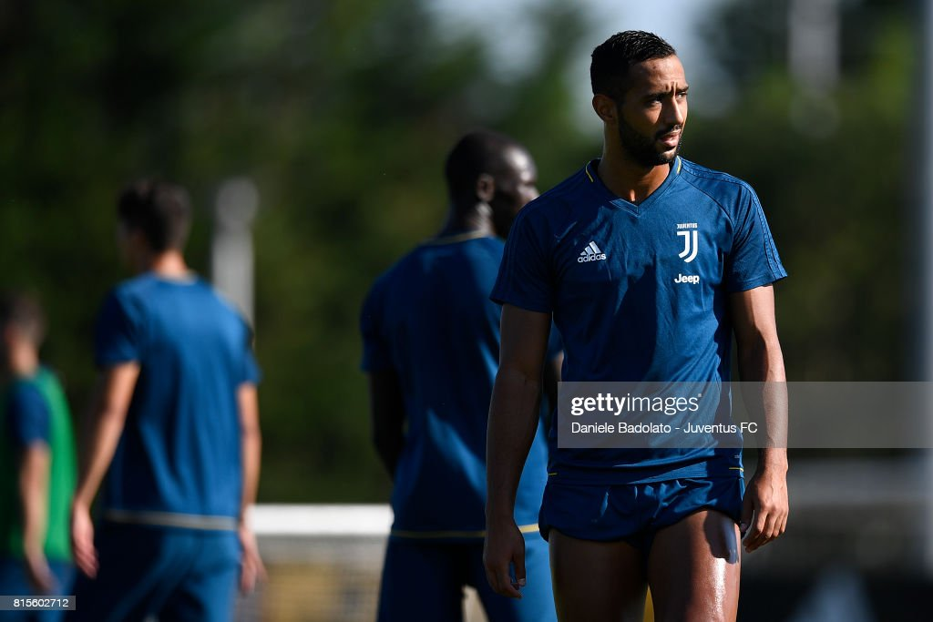 Medhi Benatia of Juventus during a training session on July 16, 2017 in Vinovo, Italy.