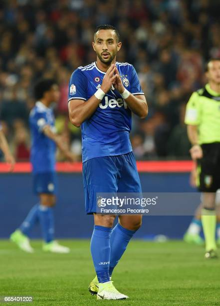Medhi Benatia of Juventus FC in action during the TIM Cup match between SSC Napoli and Juventus FC at Stadio San Paolo on April 5 2017 in Naples Italy