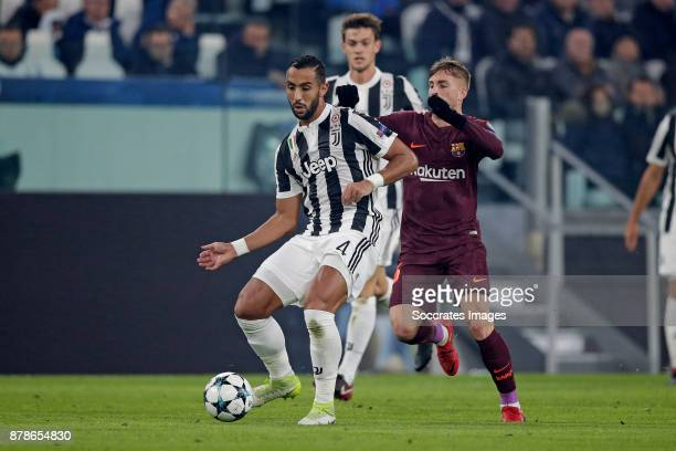 Medhi Benatia of Juventus Gerard Deulofeu of FC Barcelona during the UEFA Champions League match between Juventus v FC Barcelona at the Allianz...
