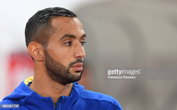 Medhi Benatia of Juventus looks on before the Serie A match between SSC Napoli and Juventus at Stadio San Paolo on December 1 2017 in Naples Italy