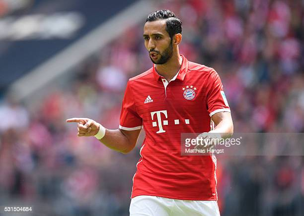 Medhi Benatia of Muenchen gestures during the Bundesliga match between FC Bayern Muenchen and Hannover 96 at Allianz Arena on May 14 2016 in Munich...