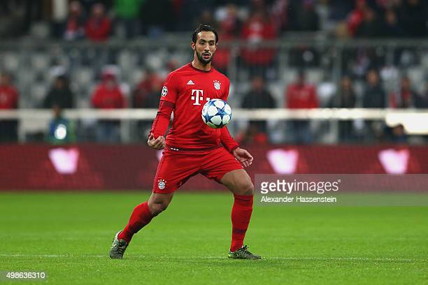 Medhi Benatia of Muenchen runs with the ball during the UEFA Champions League Group F match between FC Bayern Muenchen and Olympiacos FC at Allianz...
