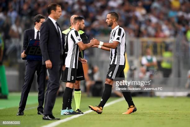 Medhi Benatia substituted by Mattia De Sciglio during the Italian Supercup match between Juventus and SS Lazio at Stadio Olimpico on August 13 2017...