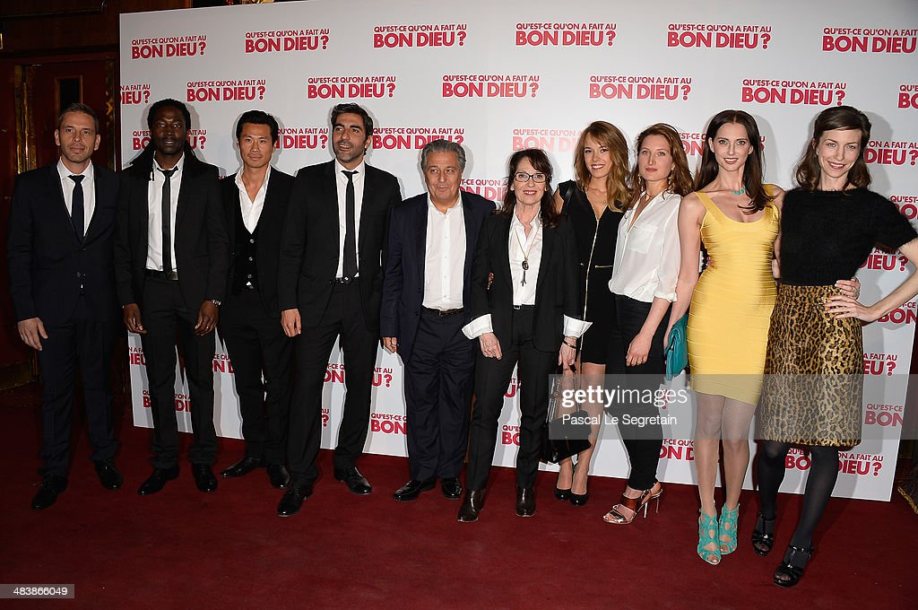 Medi Sadoun, Noom Diawara, Frederic Chau, Ary Abittan,Christian Clavie, Chantal Lauby, Elodie Fontan, Julia Piaton, Frederique Bel and Emilie Caen attend the 'Qu'est-ce Qu'on A Fait Au Bon Dieu?' Paris Premiere at Le Grand Rex on April 10, 2014 in Paris, France.