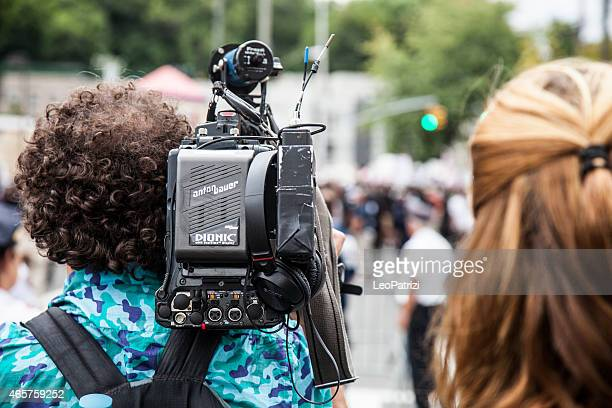 Media and journalists documenting the protest against NYPD