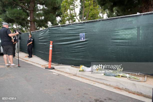 Media and police gather outside the house of Linkin Park's lead singer Chester Bennington after the frontman's reported suicide on July 20 2017 in...