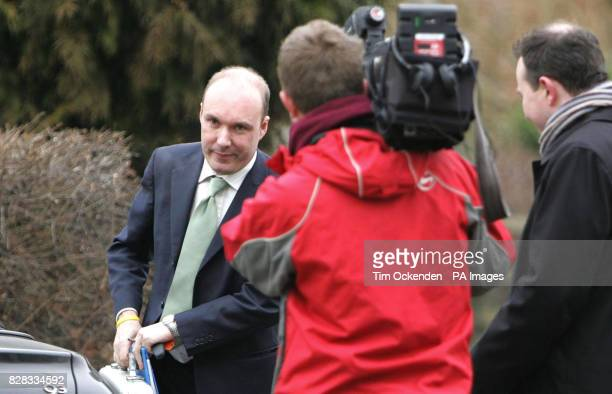 Media approach Liberal Democrat MP Mark Oaten as he arrives for his surgery in Swanmore near Winchester Hampshire Friday February 3rd 2006 to face...