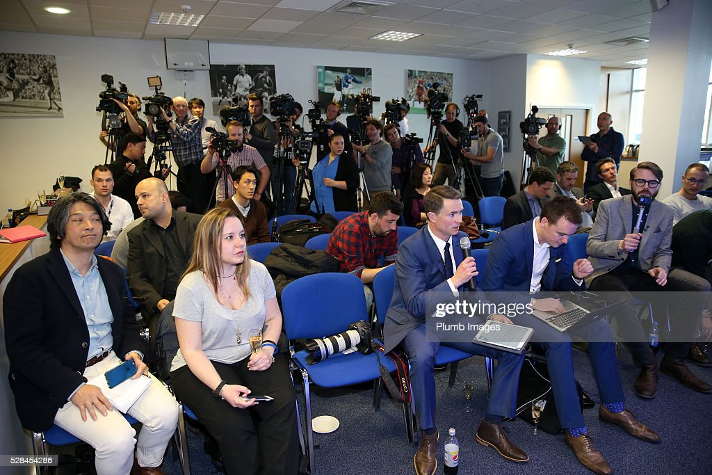 Media attend the Leicester City press conference at King Power Stadium on May 5, 2016 in Leicester, United Kingdom.