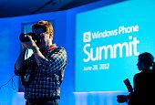 Media attend the Microsoft Windows Phone Summit in San Francisco California