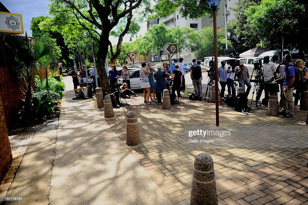 Media camp outside the Pretoria Magistrate Court while Oscar Pistorius appears for his bail application on February 19, 2013 in the Pretoria Magistrate court in Pretoria, South Africa. Oscar Pistorius, who has been charged with the murder after allegedly shooting dead his girlfriend Reeva Steenkamp at his home in Silver Woods last Thursday, is appearing in court today for his bail hearing. (