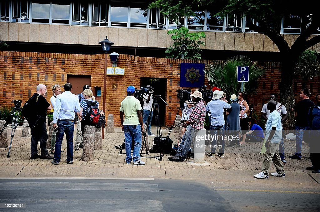 Media camp outside the Pretoria Magistrate Court while Oscar Pistorius appears for his bail application on February 19, 2013 in the Pretoria Magistrate court in Pretoria, South Africa. Oscar Pistorius, who has been charged with the murder after allegedly shooting dead his girlfriend Reeva Steenkamp at his home in Silver Woods last Thursday, is appearing in court today for his bail hearing.