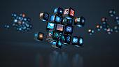 Digital Media concept cube of screens smart TV