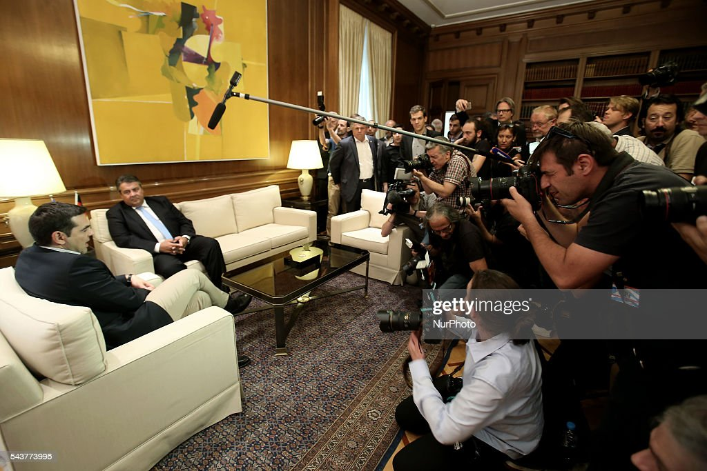 Media coverage of the meeting between Greek PM Alexis Tsipras and Sigmar Gabriel, Vice Chancellor of Germany and Minister for Economic Affairs and Energy, at Maximos mansion in Athens Greece, on June 30, 2016