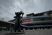 Media crews are arriving while preparations are underway at the Tampa Bay Times Forum site of the the Republican National Convention in Tampa Florida...