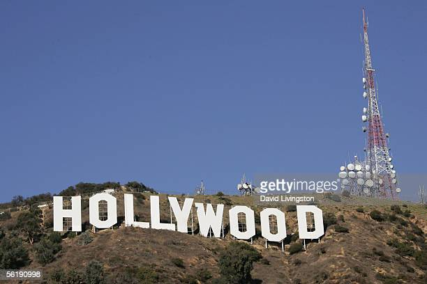 Media day at the Hollywood Sign to observe it's repainting November 16 2005 in Hollywood California The 45foot high letters of the famous sign last...