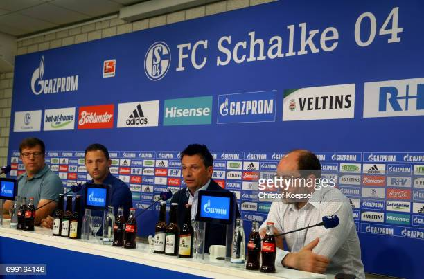 Media director Thomas Spiegel head coach Domenico Tedesco manager Christian Heidel and Axel Schuster member of the board are seen during the...