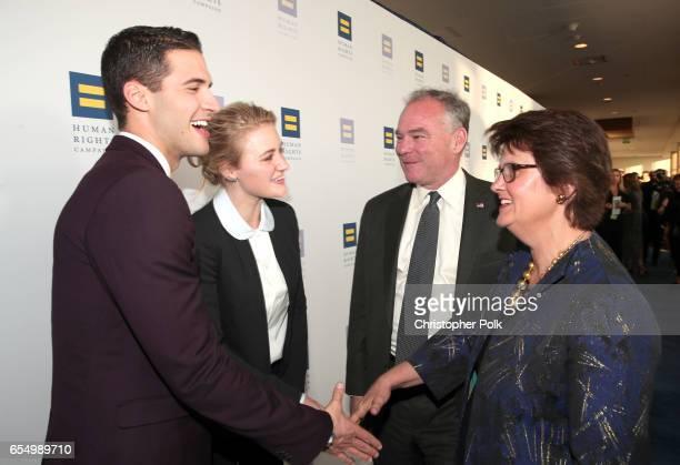 RWB Media founder Raymond Braun actor AJ Michalka Senator Tim Kaine and Anne Holton at The Human Rights Campaign 2017 Los Angeles Gala Dinner at JW...