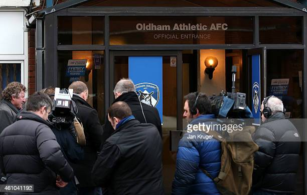 Media gather at Oldham Athletic's Boundary Park ground on January 5 2015 in Oldham England