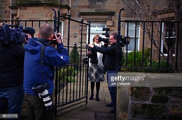 Media gather at the Edinburgh home of the former chief executive of Royal Bank of Scotland Sir Fred Goodwin on February 26 2009 in Scotland RBS today...