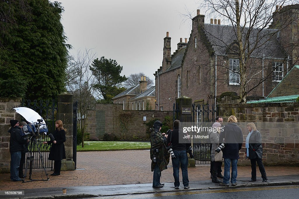 Media gather at the home of Cardinal Keith Obrien on February 24, 2013 in Edinburgh, Scotland. Cardinal Keith Obrien, Britain's most senior Roman Catholic, missed taking Sunday Mass following allegations from three priests and one former priest of inappropriate behaviour.