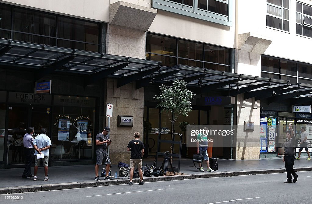 Media gather outside the Rydges World Square hotel where Michael Christian is believed staying on December 8, 2012 in Sydney, Australia. 2dayFM Radio Presenters Mel Greig and Michael Christian have been taken off air following the suicide of royal nurse Jacintha Saldanha. Nurse Saldana took a prank call from the presenters while working at the King Edward VII Hospital where Catherine, Duchess of Cambridge was receiving treatment.