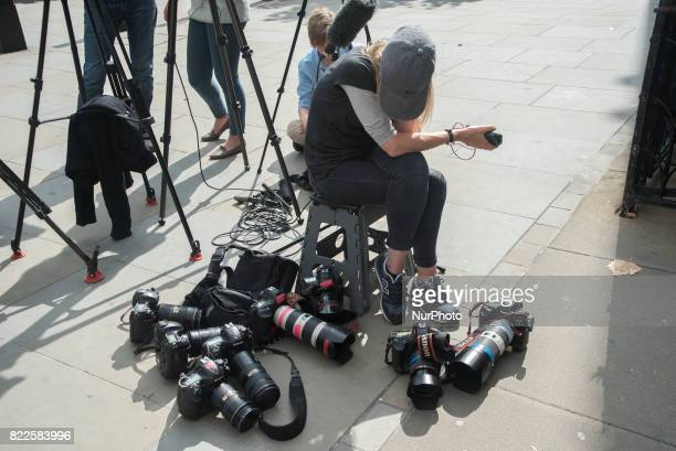 Media gears are pictured outside The Royal Court Of Justice London on July 25 2017 It has became the scene of the legal dispute about Charlie Gard's...